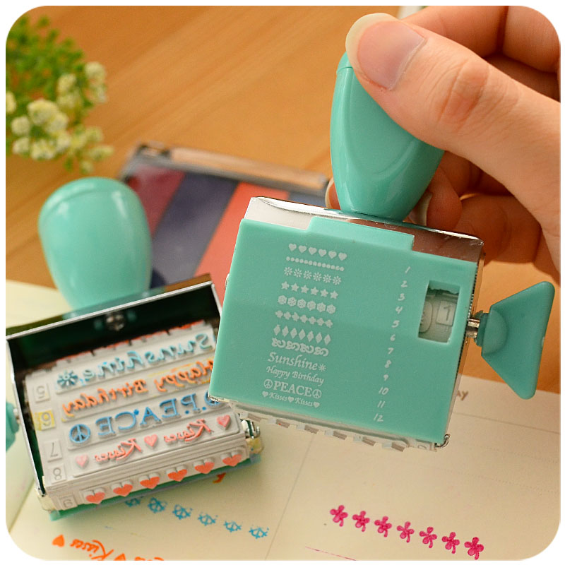 Creative Cute DIY Craft Roller Stamp12 designs+1 pcs ink pad For Scrapbooking Diary Albums Decorative student gift