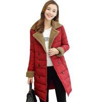 Korean Slim Women Mid Long Imitation Lamb Jacket Coat Ladies Casual Lapel Double Breasted Thick Warm Down Overcoat Big Size O714