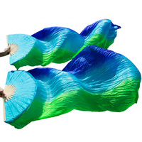 2018 Newest Belly Dance Silk Fans Handmade Dance Fans 1 Left Hand+1 Right Hand Royal blue + Turquoise + Green Stripes