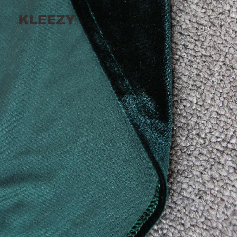 סלבריטאי נצנצים מסיבת KLEEZY שני חלקים אמרלד ירך פיצול מקסי קטיפה Dressess by172 ערב ארוך שרוול