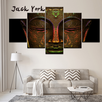 Canvas Painting glowing light bronze statue of buddha's face Wall Art Painting Modular Wallpapers Poster Print Home Decor canvas painting cristiano ronaldo football sport real madrid wall art painting modular wallpapers poster print home decor