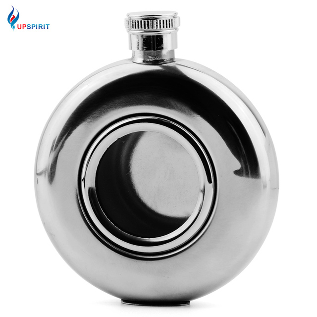 Upspirit Sliver Round 5oz Stainless Steel Hip Flask Portable Alcohol Bottle Whisky Flasks Shot Flask With Central Glass For Men