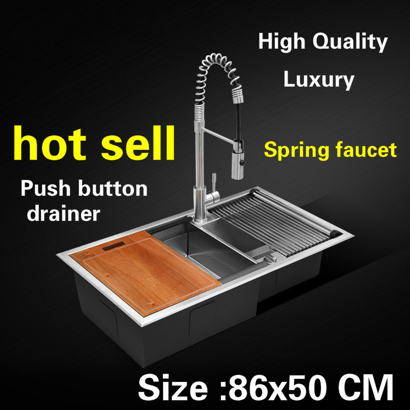 Free Shipping Apartment Big Wash Vegetables Kitchen Manual Sink Double Groove Push Button Drainer 304 Stainless Steel 86x50 CM