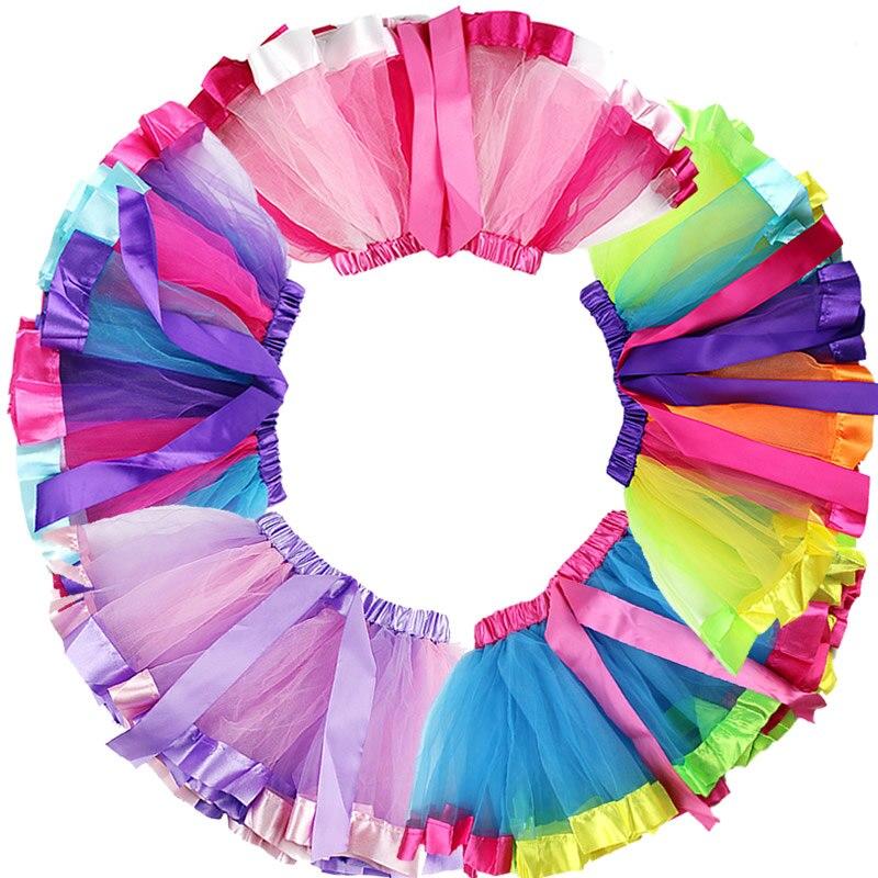 Little Girls Layered Ribbon Tutu Skirts with Unicorn Horn Headband Ballet Dress