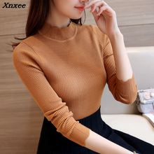 28 new winter Korean slim knitted lace elastic semi turtleneck sweater F1500 shirt Xnxee
