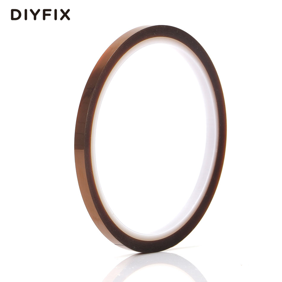 DIYFIX 1PC 5mm Tawny Heat Resistant Polyimide Tape High Temperature Adhesive Insulation Tape for BGA PCB SMT Repair Tool