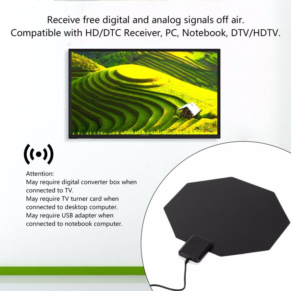 Digital Indoor Tv Antenna Long Range 470 860mhz Amplified Hd 1080p Block Diagram Of An Analogue Uhf Receiver Flat Home Analog For Pc Notebook Dtv Hdtv In From Consumer