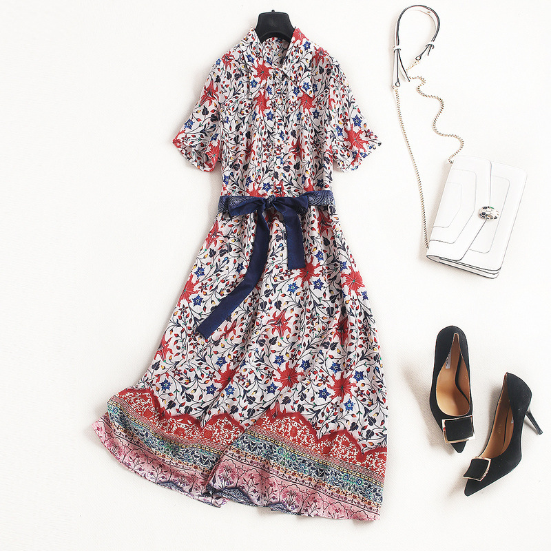 100% silk dress new 2018 spring summer dress short sleeve print turn down collar sashes bohemian brand runway A line dress