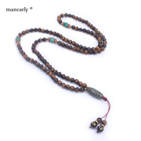 108 Mala Necklace Tiger Eyes With Ancient Three Eyes Onyx Long Necklace For Men Women Yoga