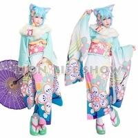 flower Kimono SAO ALO Yuuki Asuna green Asada pink Shino blue Leafa purple Japanese Furisode Kimono Cosplay Costume
