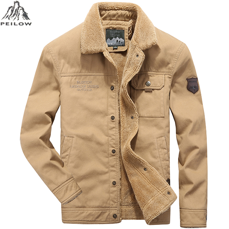 new Men Denim Jackets and Coats Winter High Quality Men Casual 100% Cotton Winter Fleece Outwear Thick Tactical cargo Parka