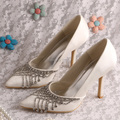 Wedopus Custom Handmade Italy Style Sexy Pointed Closed Toe Ladies Bridal Shoes Ivory