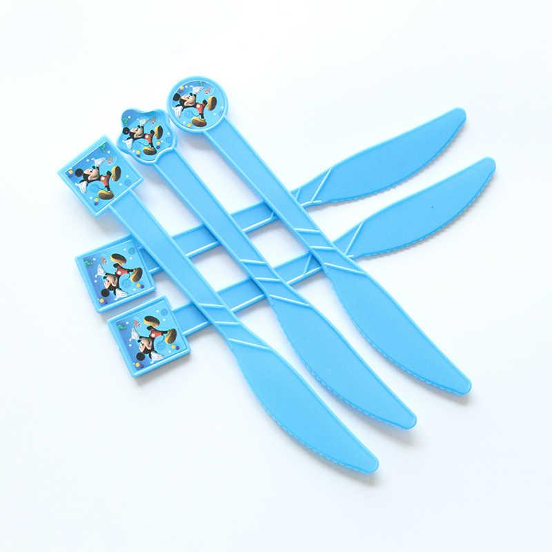 10 ชิ้น/แพ็คธีม Mickey Mouse Party Supplies พลาสติกทิ้งมีด/ส้อม/ช้อนเด็กอาบน้ำเด็กวันเกิดอุปกรณ์ตกแต่ง