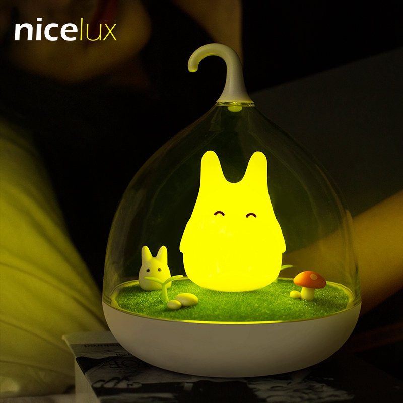 LED Birdcage Nightlight Vibration Touch Sensor USB Table Lamp Luminaria Rechargeable Battery Baby Bedroom Totoro Night Light