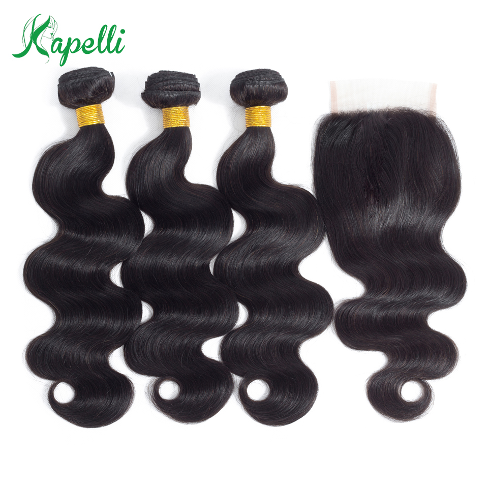 3 Bundles Brazilian Body Wave Hair With Closure 4*4 Free Part 4pcs/lot Remy Human Hair Extension Natural Color Free Shipping