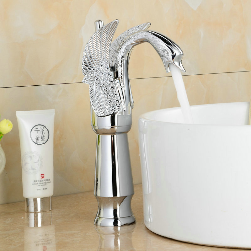 Luxury Swan Mixer Taps Bathroom Basin Brass faucet Swivel Handle Single Hole Torneira Hot and Cold Taps 1127C 2 5l pneumatic hopper gun air spray gun wall paint spray gun painting gun tools page 7