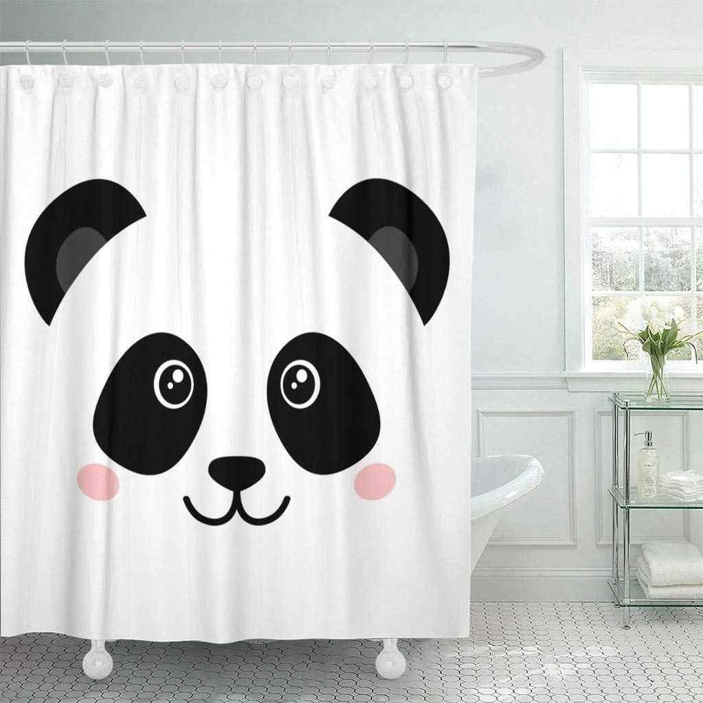 Душа Шторы с Крючки зажима Милый Панда лицо черный, белый цвет голова животного знак в форме сердца Простые декоративные Ванная комната