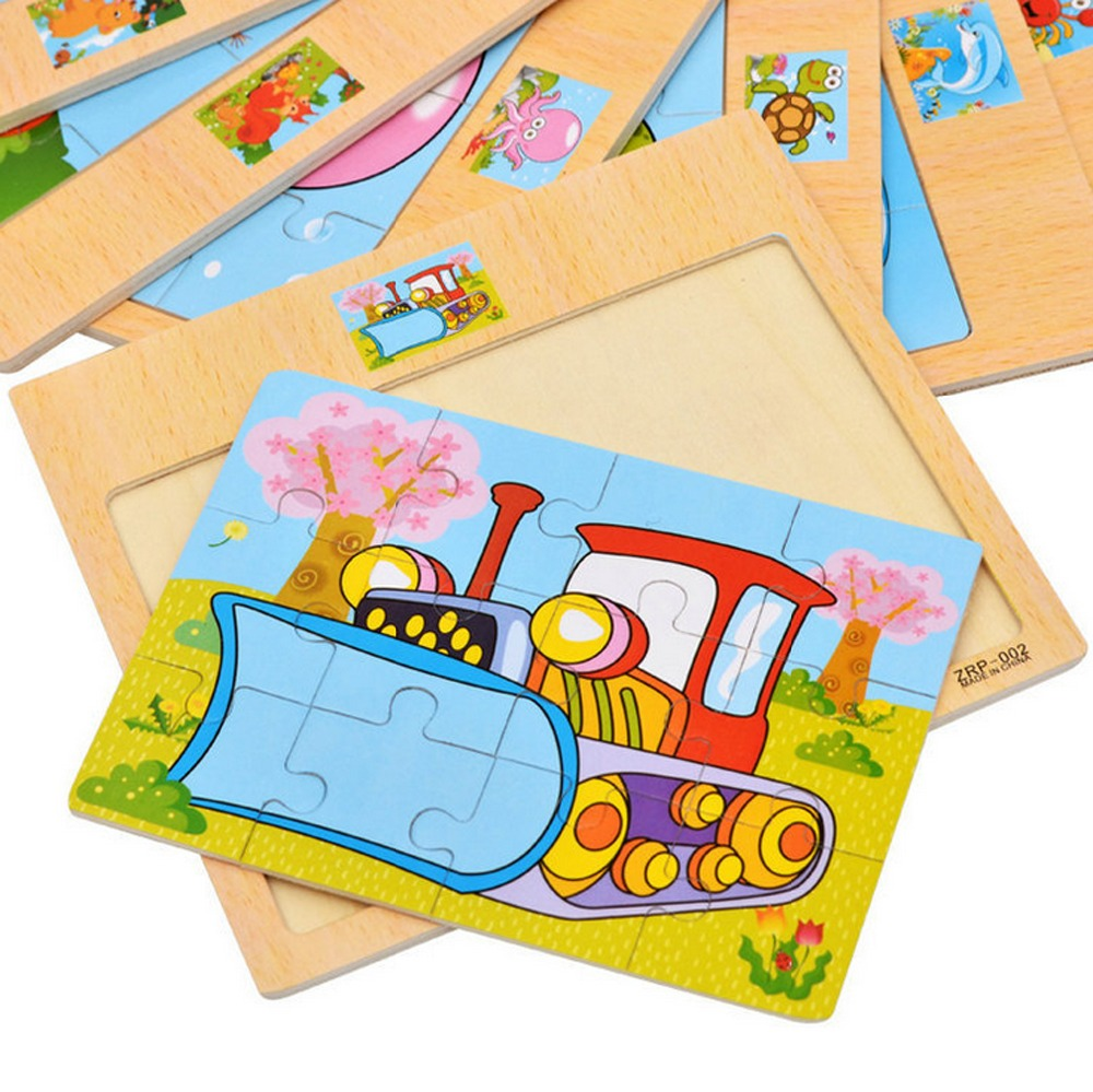 Image 2 - 12 Piece Puzzle Wooden Toys Kids Baby Wood Puzzles Cartoon Vehicle Animals Learning Educational Toys for Children Gift-in Puzzles from Toys & Hobbies