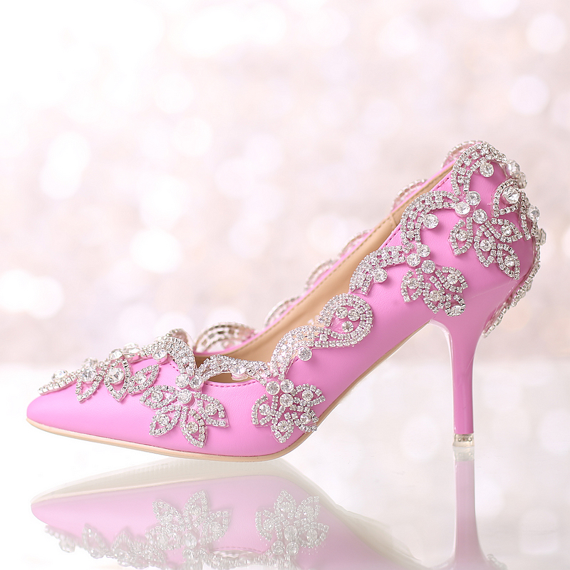 Popular Pink Crystal Wedding Shoes-Buy Cheap Pink Crystal Wedding ...