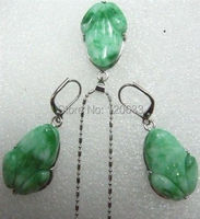 Color Beautiful Carved Purple Green Jade Frog Pendant Necklace Earring 14K GP Silver Hook Wholesale Shipping