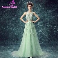 Vestido De Festa Evening Dress Robe De Soiree V Neck With Lace Appliques Long Tulle Prom
