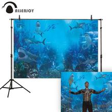 Allenjoy ocean photography backdrop under the sea shark coral background photocall photo shoot prop fabric fantasy