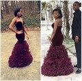 Nova chegada veludo africano borgonha longas sereia vestidos de baile 2016 Organza vestido de festa de formatura RufflesEvening