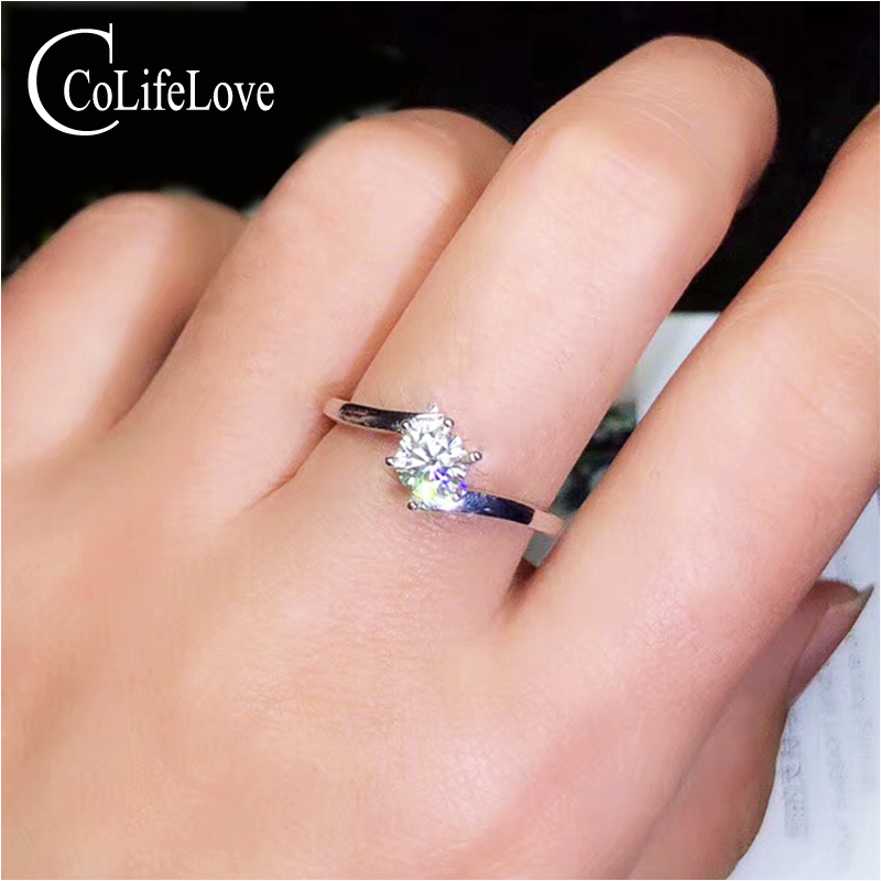 CoLife Jewelry Moissanite Silver Ring for Engagement 0 5ct VVS Moissanite Ring Simple 925 Silver Gemstone