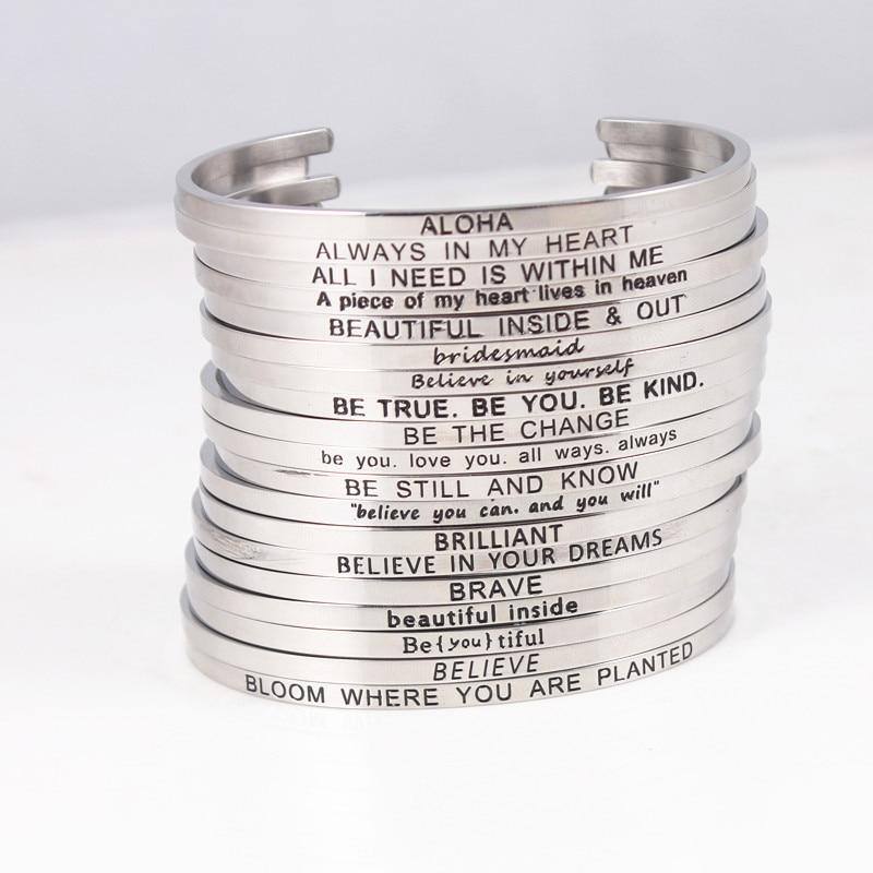 23 pièces aléatoire en acier inoxydable mélangé bracelet gravé positif inspirant citation main empreinte manchette Mantra bracelets pour femme