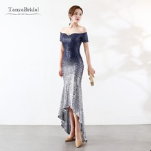 Two Tone Color Sequined Mermaid Bridesmaid Dresses Short Front Long Balck  Wedding Party Gowns Real DB002 8a51101ede51