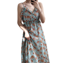 2019 new womens chiffon Sleeveless sling dress High quality fabric print V-neck summer Leisure Beach ruffled X90