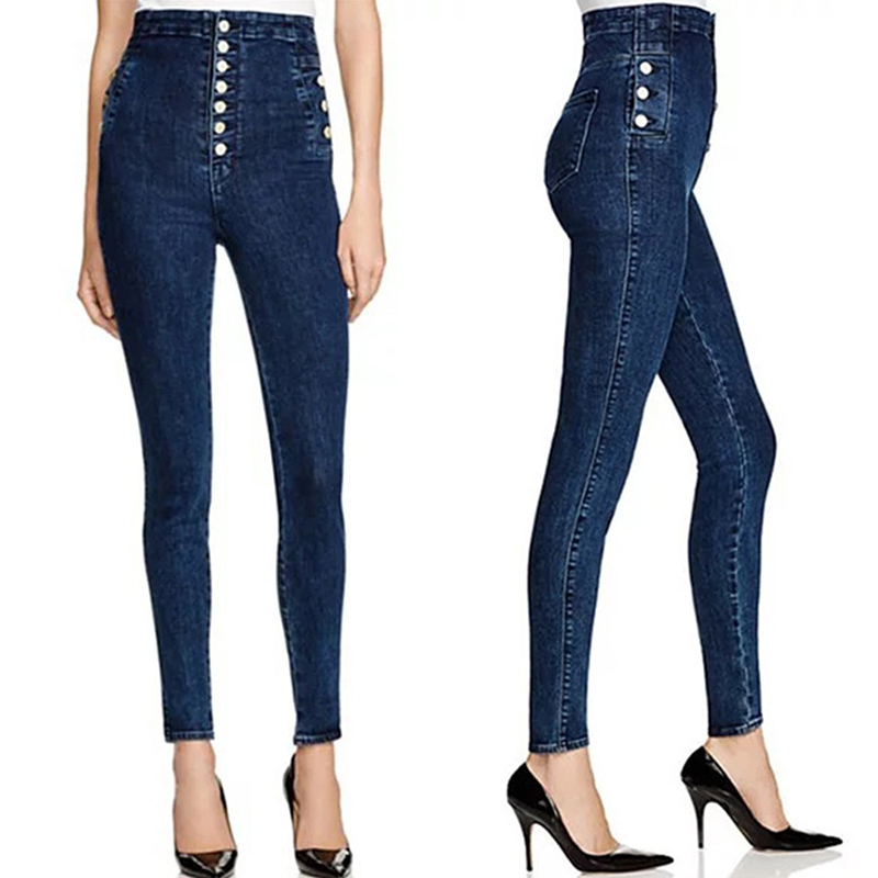 Fashion Button Decora Woman Jeans High Waist Skinny Pencil P