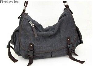 Image 4 - FiveLoveTwo grand Vintage toile messager Totebag livre ordinateur portable épaule école Ladys femmes sac à main hommes sac sac