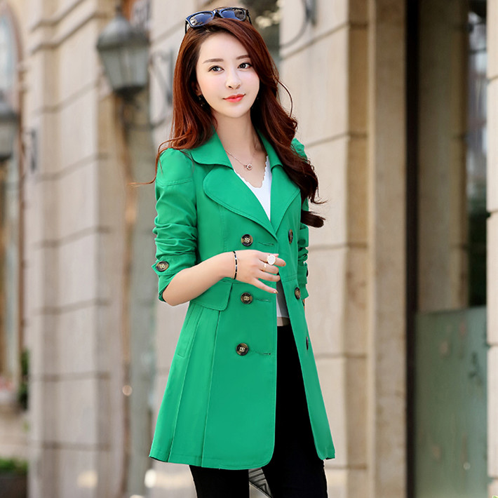 Spring Autumn   Trench   Coats For Women Slim Wild Medium length Female Windbreaker Coat Double-breasted Tops Casual elegant style
