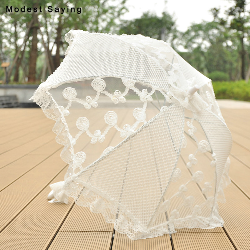 New Arrival Ivory Lace Cover Bridal Showers 2018 Embroidery Parasol Wedding Umbrellas Accessories Decorations ombrelle mariage