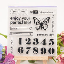 2019 Butterfly 0-9 Digit Kata Transparan Bening Silikon Cap untuk Seal Diy Scrapbooking Foto Album Dekoratif Clear Stamp(China)