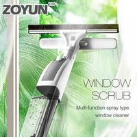 ロングハンドル両面ウィンドウガラスクリーナー水スプレーシリコーンスキージ大窓ワイパースクレーパークリーニングブラシツール