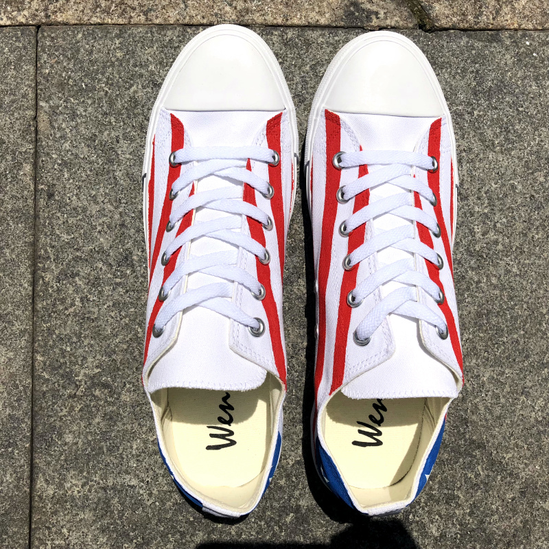 Wen Hand Painted Flag Canvas Shoes Design Puerto Rico Low Top Shallow Mouth Plimsolls Flat Heel Lacing Sneakers Trainers NeutralWen Hand Painted Flag Canvas Shoes Design Puerto Rico Low Top Shallow Mouth Plimsolls Flat Heel Lacing Sneakers Trainers Neutral