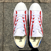 Wen Hand Painted Flag Canvas Shoes Design Puerto Rico Low Top Shallow Mouth Plimsolls Flat Heel Lacing Sneakers Trainers Neutral