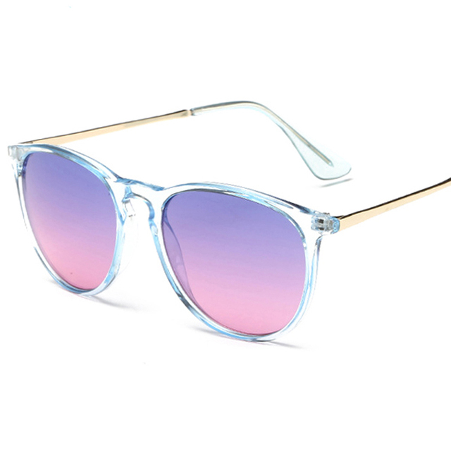 Brand Fashion New Round Sunglasses Women Vintage Cat Eye Shades Summer Ocean