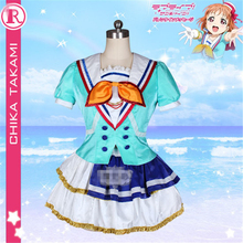 Anime Aqour Love Live!Sunshine!! Takami Chika Shows Dress live Jumping Heart Cosplay Costumes  D