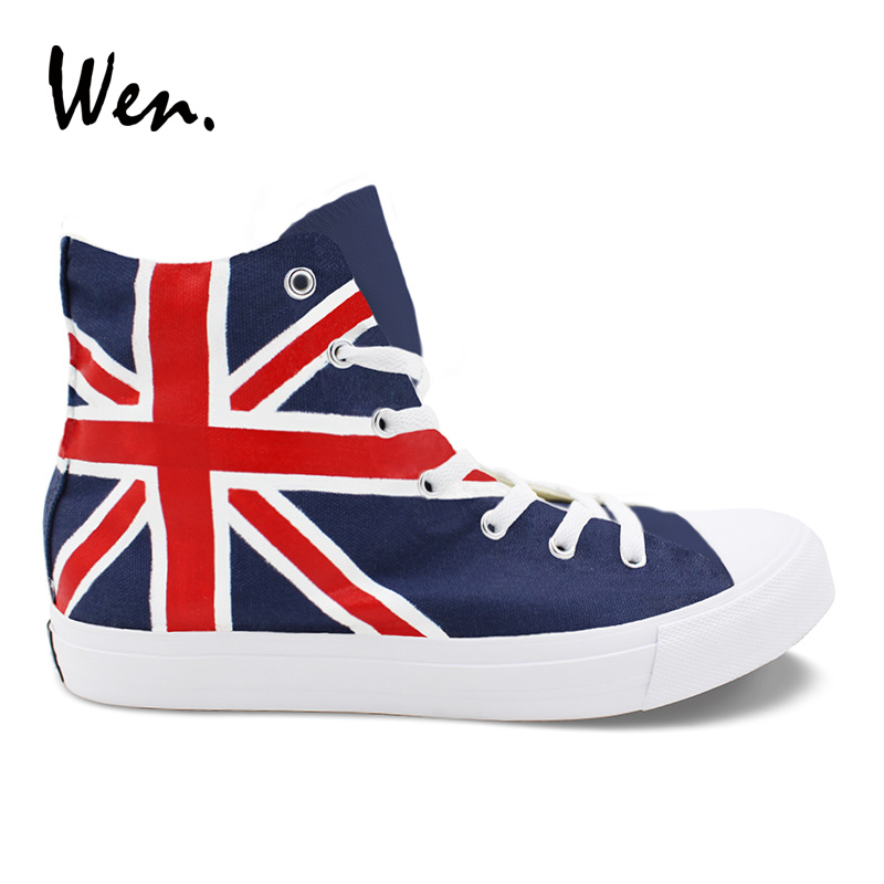 Wen Custom Canvas Sneakers UK Flag Hand Painted Shoes High Top Laced Flat Soled Shoes Unisex Canvas Sneakers for Male Female wen giraffe canvas shoes classic white hand painted animal sneakers sports high top skateboarding shoes for man woman