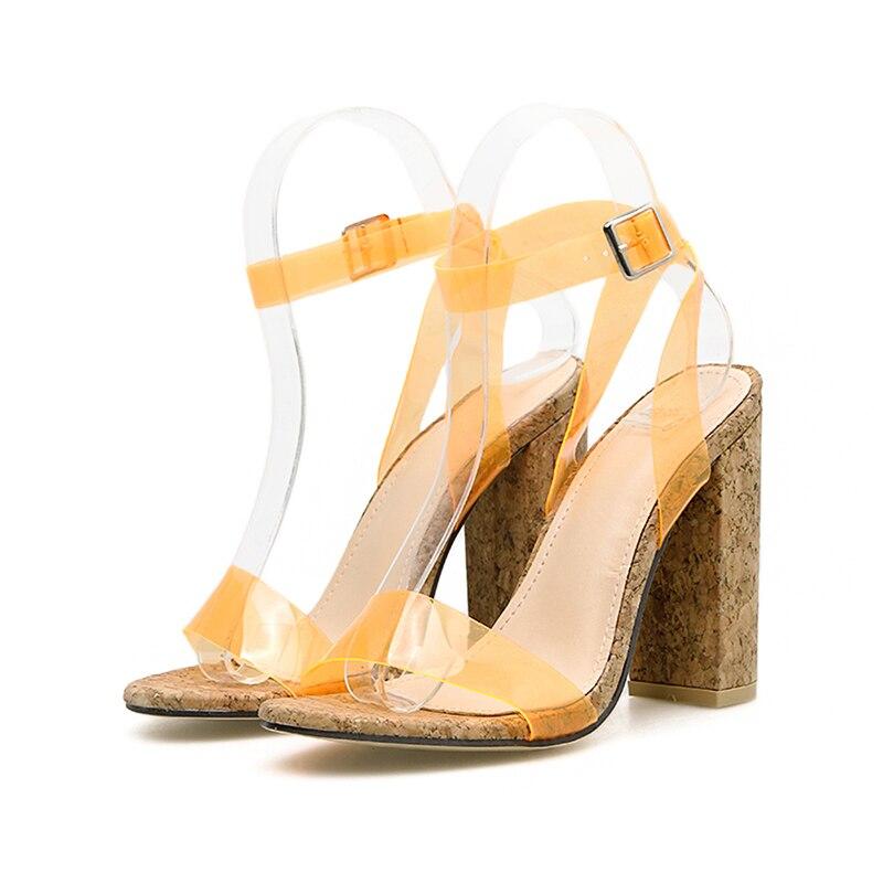 Image 5 - Kcenid/Новые пикантные женские босоножки из ПВХ ярких цветов; туфли лодочки с открытым носком; женская летняя обувь; босоножки с ремешком на лодыжке на высоком каблуке; Цвет ЗеленыйБоссоножки и сандалии   -