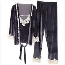 Весенне-осенняя одежда нового месяца модная одежда для беременных комплект золотой бархатной одежды для грудного вскармливания пижама из трех предметов