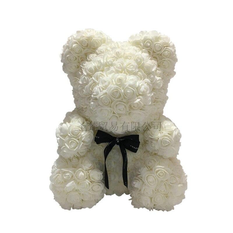 2019 saint valentin cadeau 40 cm ours de Roses fleurs artificielles maison mariage Festival décoration cadeau boîte couronne artisanat R90 - 3