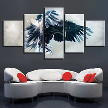 Home Living Room Wall Decor 5 Pieces Owl Spread Wings Fly Canvas Paintings Modular Frame Poster Art Printing HD Animals Pictures