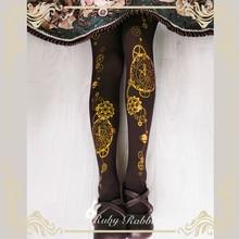 Steampunk Panty Astrologische Klok & Gear Gedrukt Lolita Panty/Panty 120d Fluwelen Panty