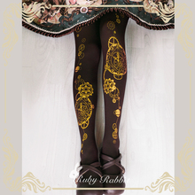 Steampunk Tights Astrological Clock & Gear Printed Lolita Pantyhose/Tights 120d Velvet Tights