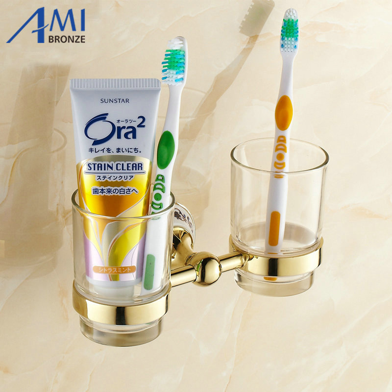 Golden Stainless steel Cup & Tumbler Toothbrush Holder 2cups holder Wall Mounted Bathroom Accessories 7007GP free shipping sus304 stainless steel wall mounted single cup holder glass tumbler holder for toothbrushes bathroom accessories