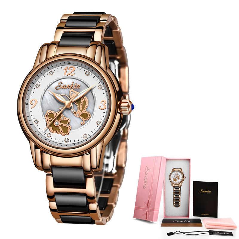 SUNKTA Quarz Uhren Frauen Mode Wasserdichte Uhr Top Marke Luxus Ladys Keramik Edelstahl Frauen Uhr Relogio Feminin